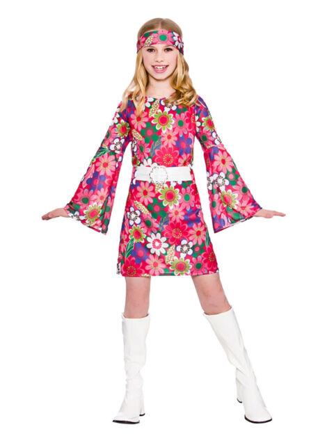 KIDS 60S GROOVY FLOWER POWER HIPPY DIVA Girls Fancy Dress Costume Age 3-13