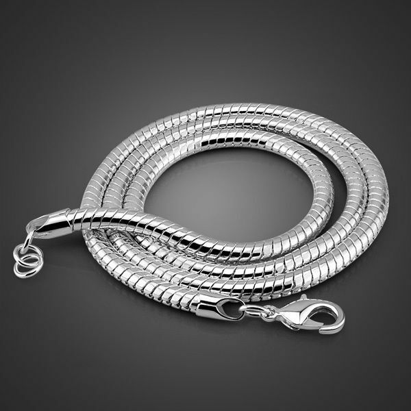 """Genuine Solid Sterling Silver Classic Round Snake Chain Necklace 4mm 20"""" PN222"""