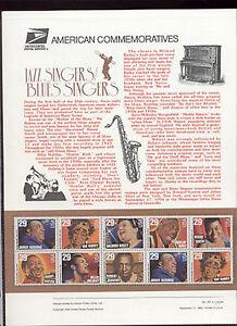2854-61-29c-Jazz-amp-Blues-Singers-USPS-447-Commemorative-Panel