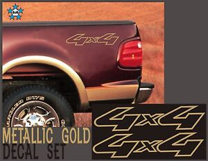 4x4 Truck Bed Decals Gold for Ford Super Duty Set