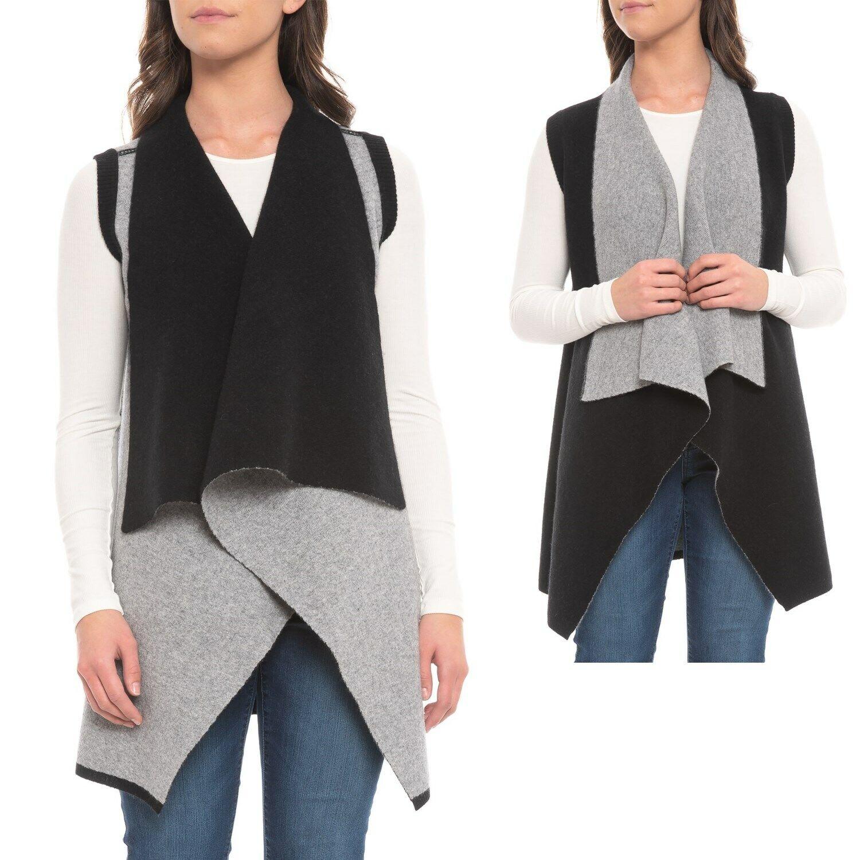Magaschoni daMänner Double-Knit Reversible  Sweater Cardigan Vest Cashmere M