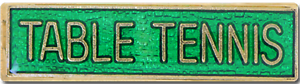 Table Tennis Bar Pin Badge in Green Enamel