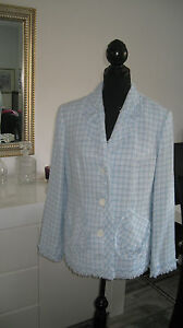 boucle blazer blau weiss gr 40 42 ma e beachten neu ebay. Black Bedroom Furniture Sets. Home Design Ideas