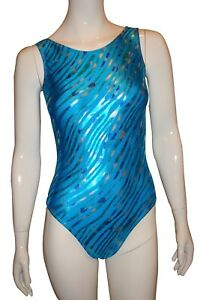 New-girls-gymnastic-leotard-metallic-blue-animal