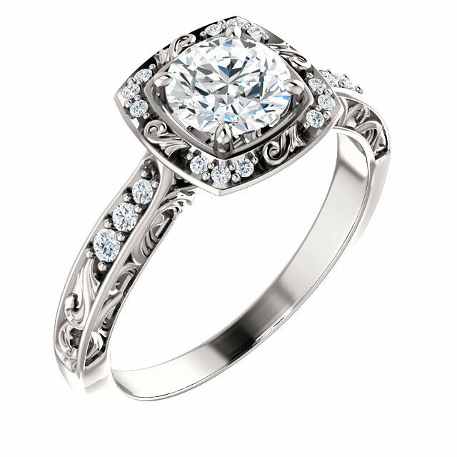 Vintage Style White gold Diamond Engagement Halo Ring Sculptural