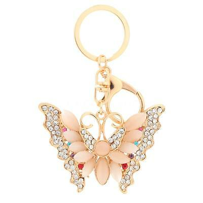 Crystal Rhinestone Opal Butterfly Keyring Charm Pendant Bag Key Chain Ring 4G5L