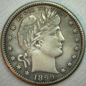 1899-S-Silver-Barber-Quarter-25c-US-Type-Coin-XF-Extra-Fine-Damaged-K216