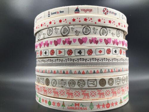 15mm Cinta de Algodón Estampado Hecho a mano hágalo usted mismo Costura Manualidades Regalo Presente Paquete