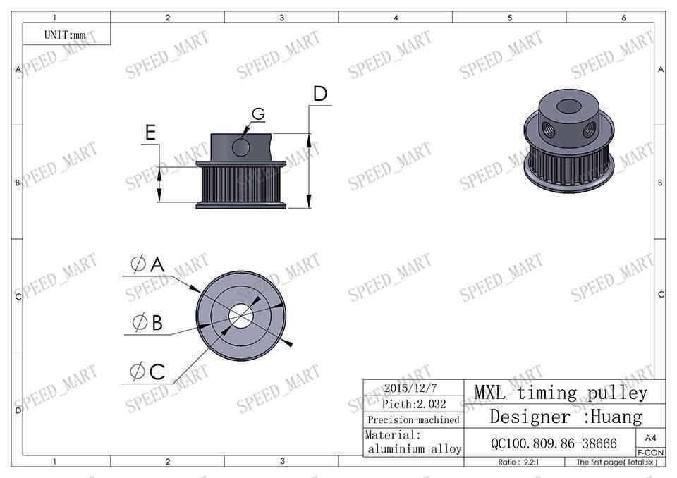 mxl type timing belt pulley 25 teeth 5mm bore 7mm width for stepper motor