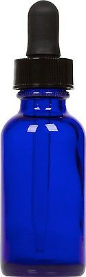12 Pack Cobalt Blue Glass Boston Round Bottle w/ Black Glass Dropper 1 oz