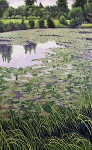 Gordon-Mortensen-034-Lily-Pond-034-Hand-Signed-amp-Numbered-Woodcut-Art-1985-Make-Offer