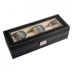 6-Slot-Watch-Box-Leather-Display-Case-Organizer-Top-Glass-Jewelry-Storage-Black