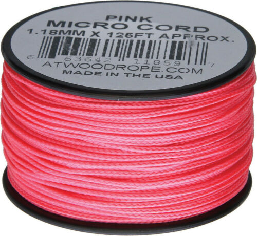PINK Atwood Rope MFG Micro Cord 125ft Pink MS16