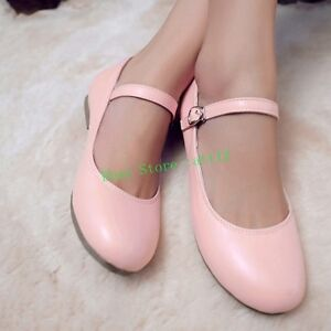 c6007741cd29 Womens Flat Pumps Buckle Round Toe Mary Jane Summer Sandal Lolita ...