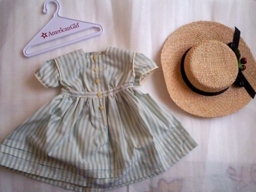 New American Girl Kirsten's Summer Dress & Straw Hat SET for Doll Size RARE