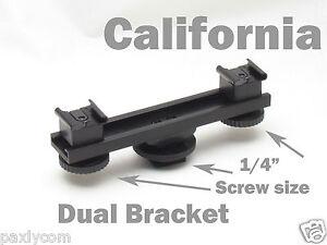 Camera Dual 1//4 Screw Bar Bracket Cold Shoe DV Video Extension Flash Light
