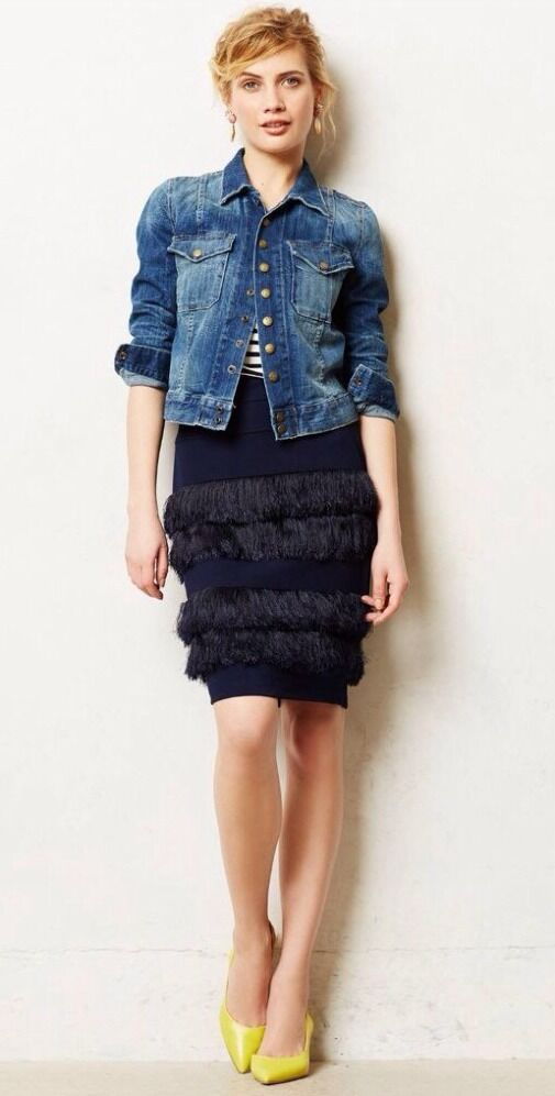 Fringed Ponte Pencil Skirt By Eva Franco Size 4P P4 NWT  168