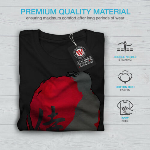 Wellcoda Katana Silhouette Mens Long Sleeve T-shirt Oriental Graphic Design