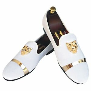 Handmade-Mens-Velvet-Loafers-Slippers-with-Gold-Buckle-Wedding-Dress-Shoes-New