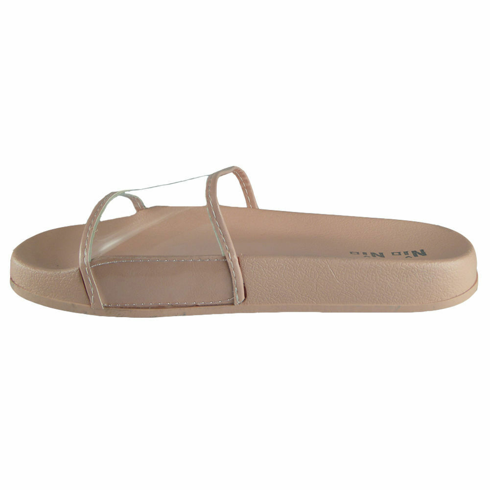 NEW WOMENS LADIES PLAIN RUBBER COMFY SHOES CLEAR SLIDER FLAT SLIDES SHOES COMFY SLIPPERS 3-8 33aa9e