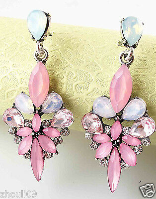 New elegant Women Elegant Crystal Rhinestone Ear Stud silver dangle Earrings 455