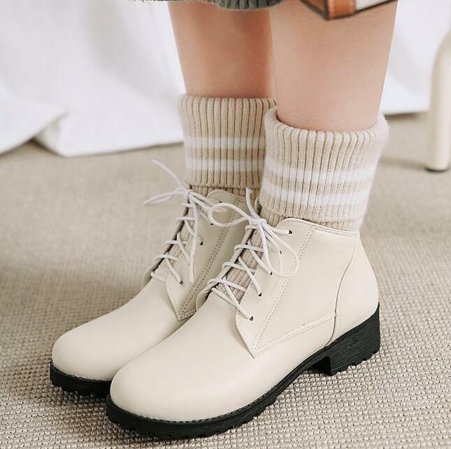 PU Leather Knit Short Boot Fall Winter New Women Pull On Round Toe Low Heel shoes