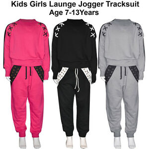 50/% OFF SALE Girls Kids Cross String Sweatshirt Trouser Loungewear Tracksuit
