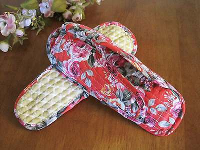 Country Red Rose Cotton Quilted Soft Flat Shoes Slippers A42