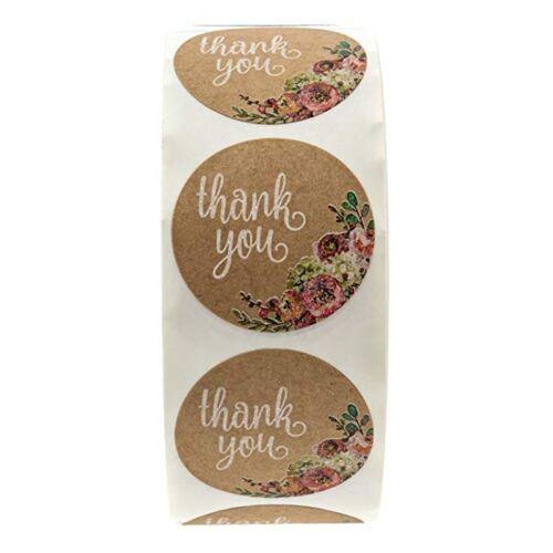 "500Pcs 1/"" Thank you Sticker Kraft Adhesive Label Roll Round Decor Baking Sealing"