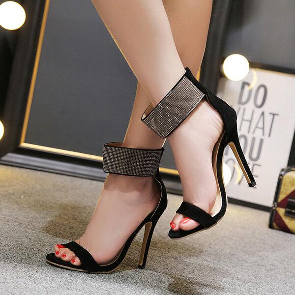 Sandali stiletto eleganti tacco 12 cm nero strass simil simil simil pelle eleganti 1153 f843ae