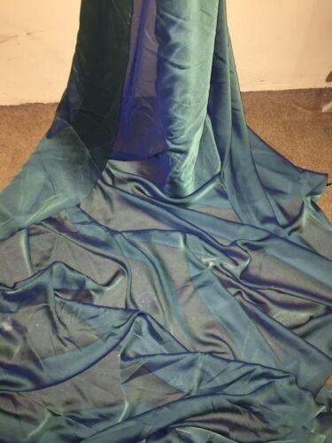 """3 Mètres Vert cationiques deux tons Sheer Robe de mariée en mousseline de soie Tissu.. 58/"""" LARGE £ 7.50"""