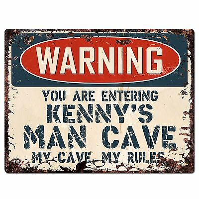 PP3439 WARNING ENTERING KENNY/'S MAN CAVE Chic Sign Home Decor Funny Gift