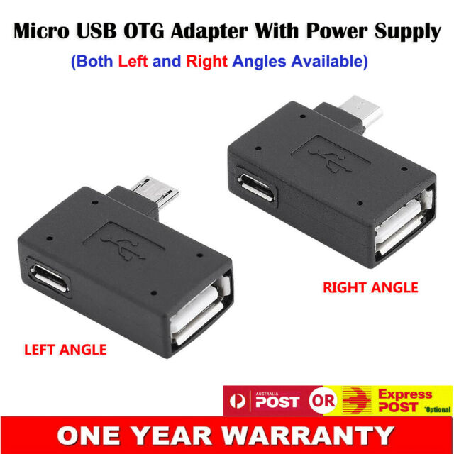 Micro USB Left Right 90° Angle to Type-A Female OTG w/ Power Adapter Converter