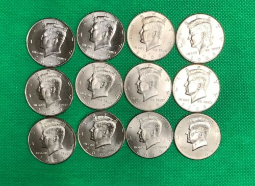 2005 thru 2010 P /& D BU Satin Finish Kernnedy Half Dollar 12 Coins