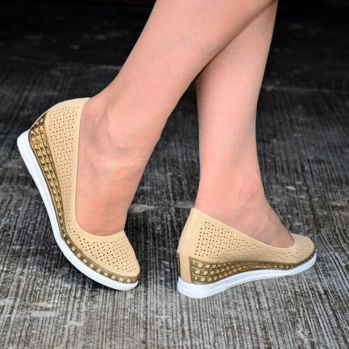Ladies Womens Casual wedges Shoes Comfy Low Wedge Heel Trainer Slip On pump size