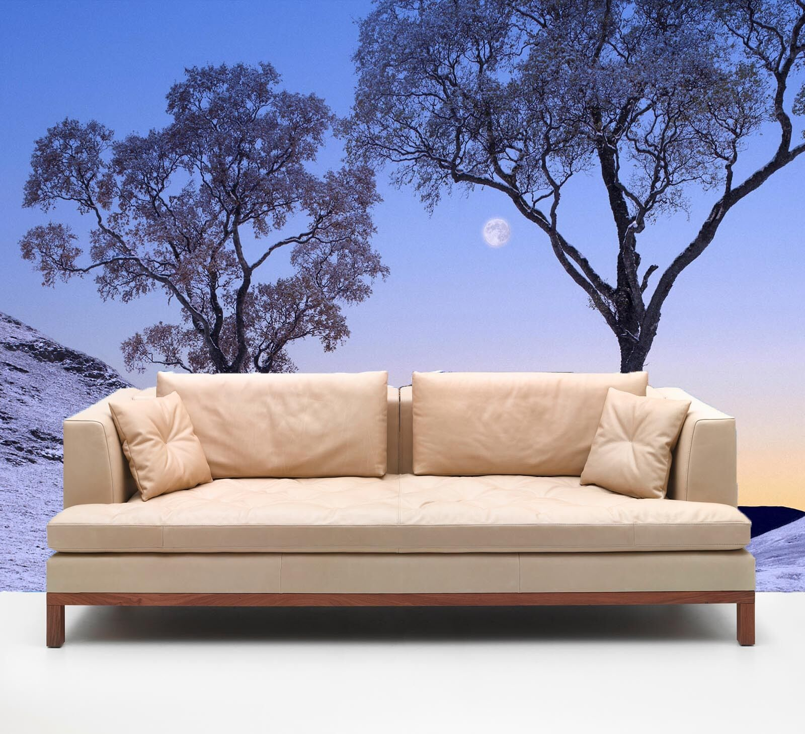 3D Round sunset, two trees 83 Wall Paper Wall Print Decal Wall Deco AJ WALLPAPER
