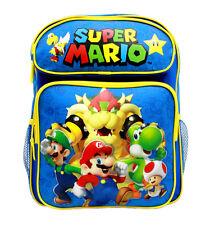 "Nintendo Super Mario Boys & Girls 14"" Canvas BLUE School Backpack"