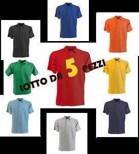 Stock-Lotto-Pacchetto-5-Polo-Manica-Corta-100-Cotone-Piquet-Da-Lavoro