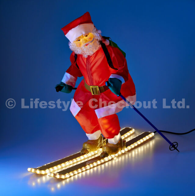 75cm Santa on Skis Rope LIGHT UP Outdoor Christmas Home & Garden Decoration