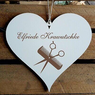 Personalisiertes Schild Herz « FRISEUR » Türschild Name Frisör Kamm Schere Salon