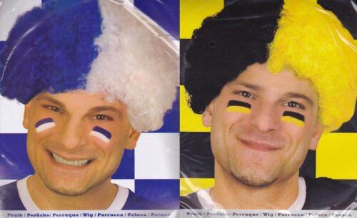 Fan Perücke im Afro Look blau-weiß oder schwarz-gelb z.B Schalke Dortmund
