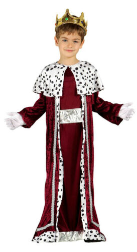 Boys King Costume Girls Queen Kids Fancy Dress Medieval Tunic Robe /& Crown 4-9