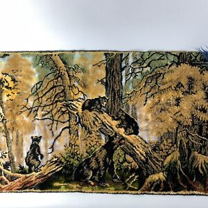 """Vintage Cloth Tapestry Black Bears Playing w/Mama Bear, Woods Scenery, 39"""" x 19"""""""