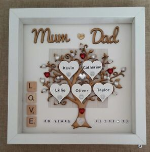 Ruby Wedding Anniversary Gift For Parents Uk : Personalised handmade ruby 40th Wedding Anniversary gift frame - mum ...