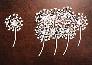 NEW White - Pack Of 8 Heart Dandelion Die-Cuts