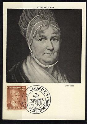 Professioneller Verkauf Bundespost Helfer Der Menschheit elisabeth Fry Auf Seltener Maxikarte Aus 1953 Briefmarken Brd Ab 1948