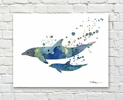 Dolphins Abstract Watercolor Painting Porpoise Art Print by Artist DJ Rogers