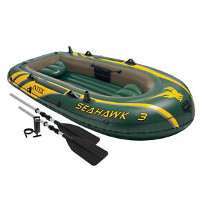 Intex Seahawk 3 Person Inflatable Rafting and Boat Set with Aluminum Oars & Pump