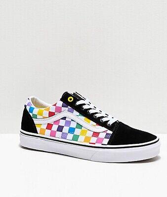 Vans Old Skool Rainbow damier damier Pride Multi Color Chaussure De Skate | eBay