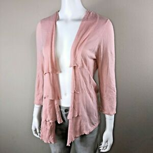 Chicos-Cardigan-Size-1-Medium-Womens-Pink-Knit-Sweater-Tiered-Ruffle-Open-Front